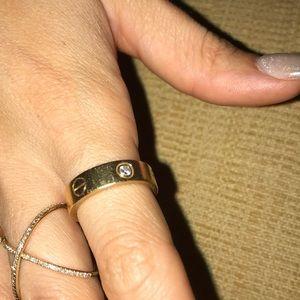 Cartier love ring 3 diamonds yellow gold